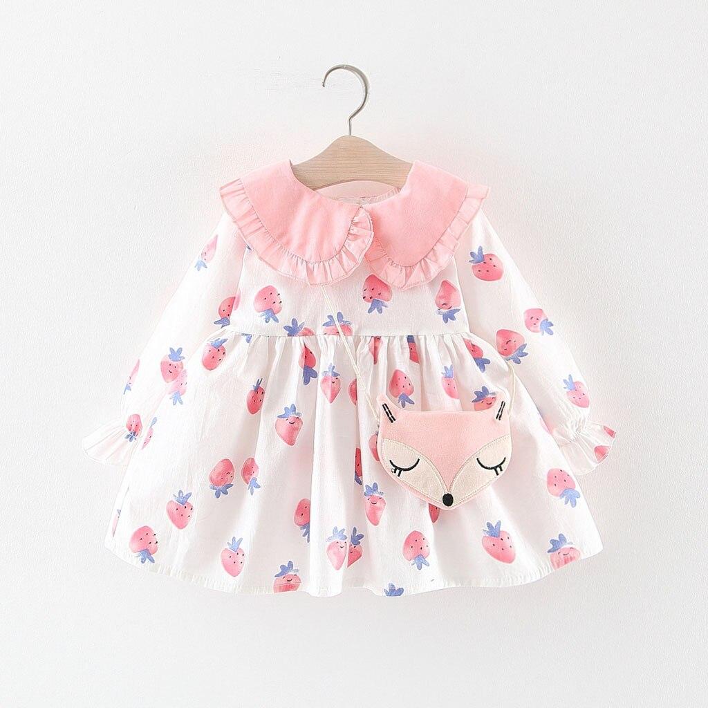 (12M-3Y) kinder Lange Hülse Puppe Kragen Erdbeere Druck Kleid Prinzessin Kleid + Fuchs Satchel Schöne Rüschen Puppe Kragen S4