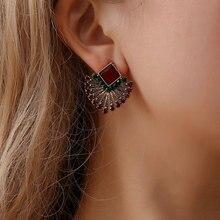 HOCOLE Vintage Crystal Earrings For Women Ethnic Handmade Gypsy Tibetan Rhinestone Hanging Drop Earring Female Indian Jewelry