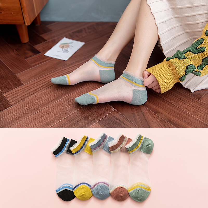 Kawaii Japanese Korea Fashion Transparent Lace Edge Socks Women Girls Summer Spring Street Shot Cotton Stripe Cute Sock Harajuku