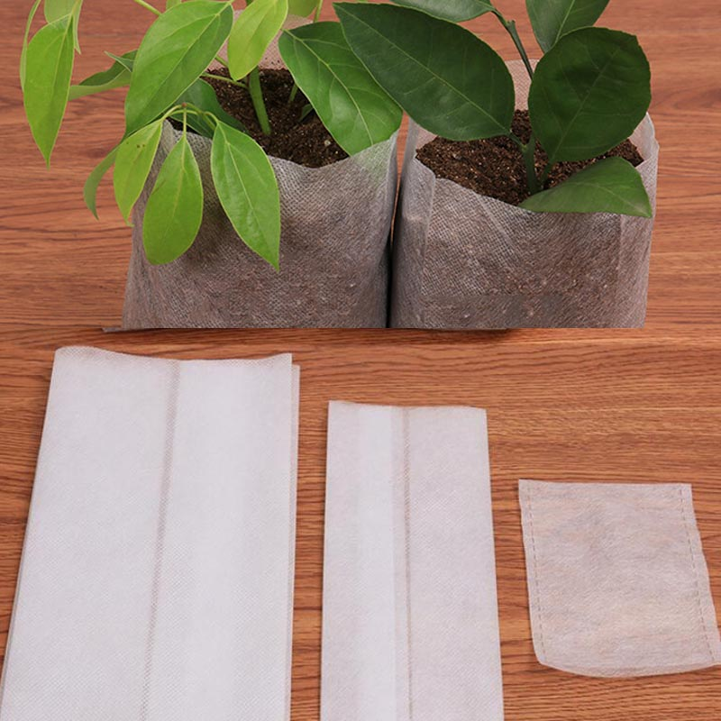 100pcs Biodegradable Non-woven Nursery Bags Plant Grow Bags Fabric Seedling Pots Eco-Friendly Aeration Planting Bags
