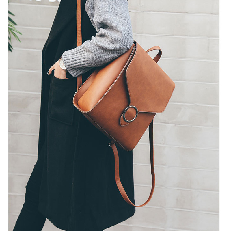 Fashion PU Leather Backpack For Women Large Capacity Simple School Bag For Girls Leisure Shoulder Travel Bag For Female Rucksack