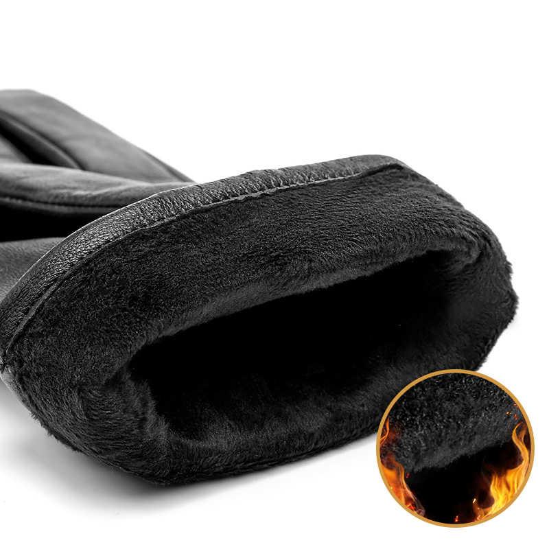 Bison denim men luvas de couro genuíno pele carneiro à prova de vento térmica quente touchscreen luva inverno luvas quentes s002