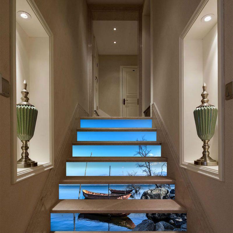 6pcs/set 3D Quiet Boat Staircase Stair Riser Floor Sticker Self Adhesive DIY Stairway Waterproof PVC Wall Decal