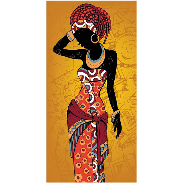 Beautiful African Woman Art Black and Gold Colour Paintings Printed on Canvas 9