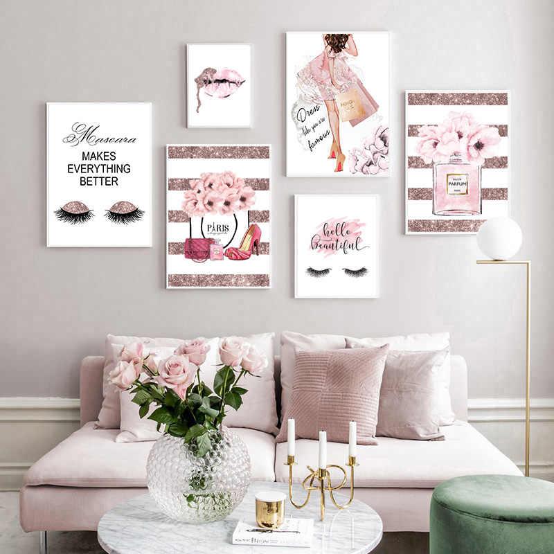 الوردي زهرة العطور موضة ملصق رمش الشفاه ماكياج طباعة قماش الفن اللوحة جدار صورة الحديثة فتاة غرفة ديكور المنزل