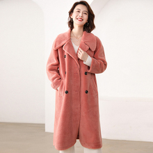 ATTYYWS 19 Grain velvet long coat female lapel sleeve double row mouth warm soft hair new product hot
