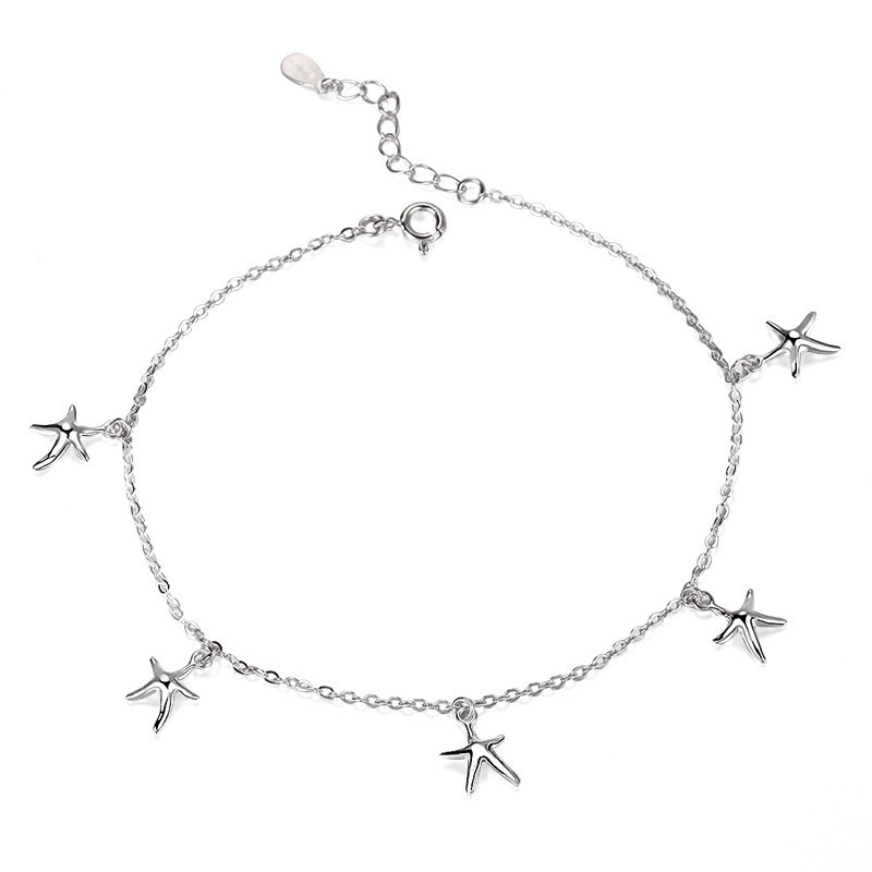 925 Sterling Silver Starfish Anklets For Women Jewelry Beach Foot Jewelry Barefoot Sandals Anklet halhal Bracelet