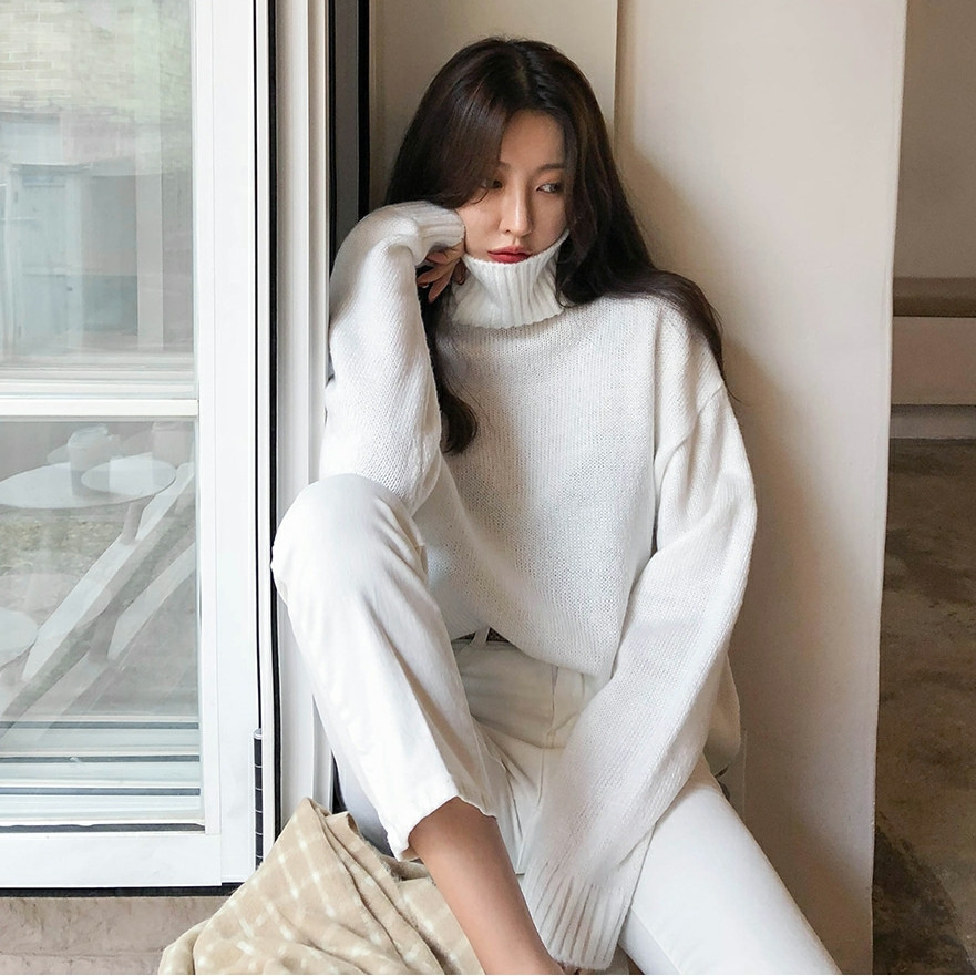 Winter Women Knitted Turtleneck Sweater Casual  Jumper Fashion Slim Femme Elasticity Pullovers