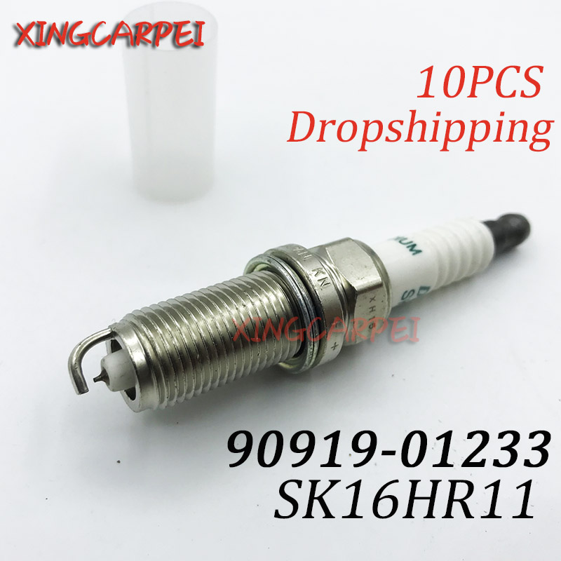 New 10pcs/lot <font><b>90919</b></font>-<font><b>01233</b></font> SK16HR11 Spark Plug For Toyota Camry For Highlander RAV4 For Scion <font><b>90919</b></font> <font><b>01233</b></font> SK16HR 11 Auto Part image
