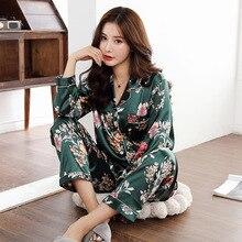 Qweek womens cetim pijama de duas peças outono manga longa mulher pijamas conjunto cardigan plus size sleepwear impressão loungewear