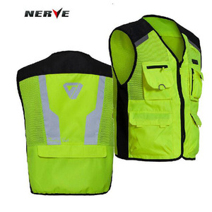 Image 1 - 2020 New  Fashion Germany Motorcycle Riding Fluorescent Safety Vest Knight Reflective Vest suit protector of 3D Mesh 600D Oxford