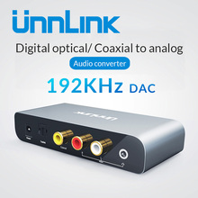 Unnlink 192 KHz 24 Bit DAC Digital to Analog Audio Converter SPDIF Optical Toslink Coaxial to RCA 3.5 jack for Smart TV Box DVD