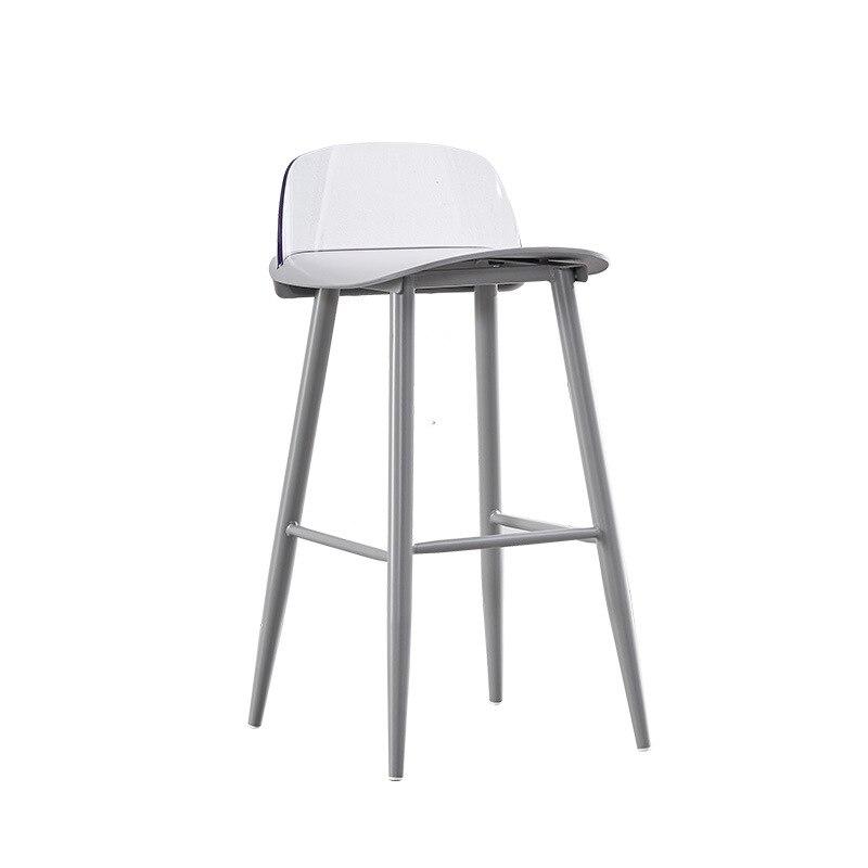 Transparent Backrest Bar Chair Modern Minimalist Wrought Iron Leisure Nerd High Stool Milk Tea Shop Front Desk Nordic Bar Chair