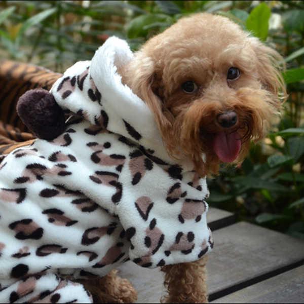 Zachte Hond Jumpsuit Puppy Cat Kleding Fleece Leopard Print Costume Coat Jumpsuit Hoodies