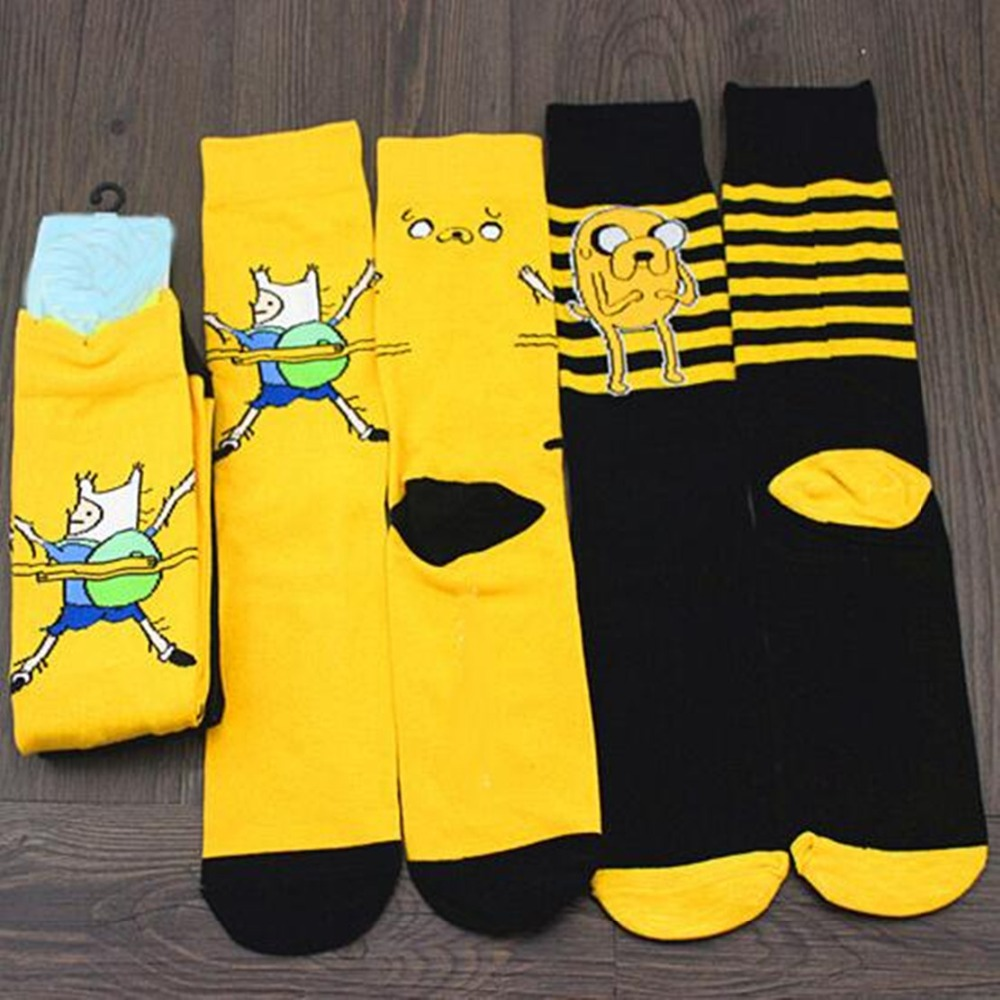 Cartoon Anime Finn And Jake Striped Socks Novelty Funny Comfort Yellow Black Men's Knee-high Sock Chaussettes Homme Calcetines