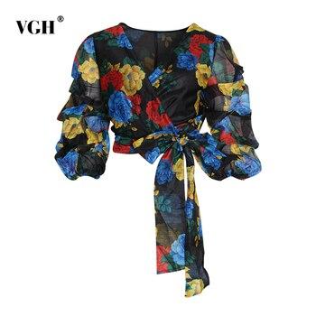 VGH Vintage Print Bowknot Women's Shirt V Neck Puff Sleeve Lace Up Irregular Short Blouse Female Autumn Fashion New 2020 фото