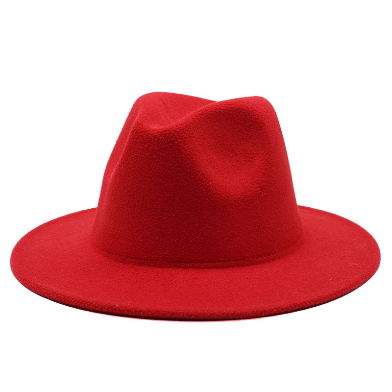 Retro classic felt jazz hat fedora hat with big brim Panama for women men black red top hat Ladies top hat imitation wool  cap 4