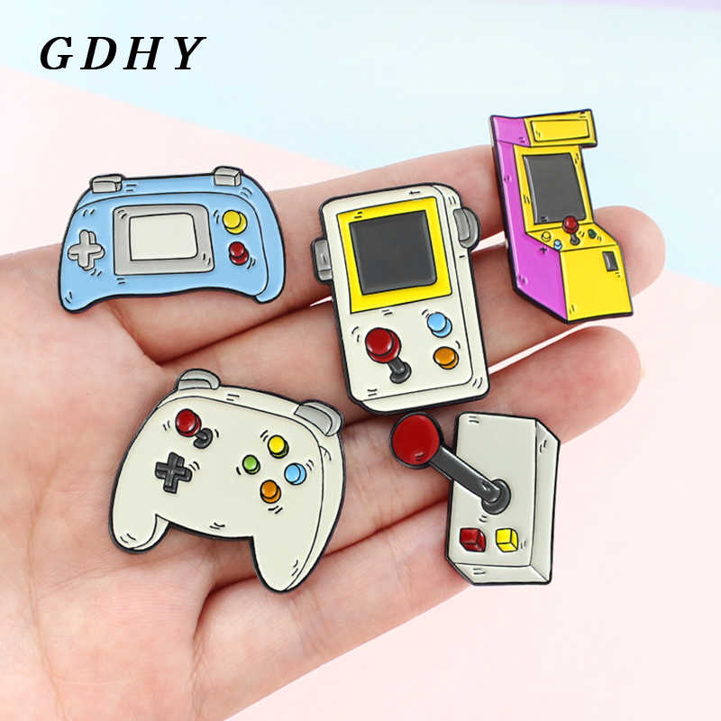 Gdhy Retro Arcade Enamel Bros Desktop Bartop Permainan Pin Video Game Lencana Handle Controller Game Boy Tombol Bros Perhiasan
