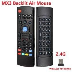 MX3 bezprzewodowa klawiatura T3 inteligentny pilot zdalnego sterowania 2.4G RF podświetlany mysz powietrzna z mikrofon głosowy dla X96 Tx3 H96 dla Android TV Box