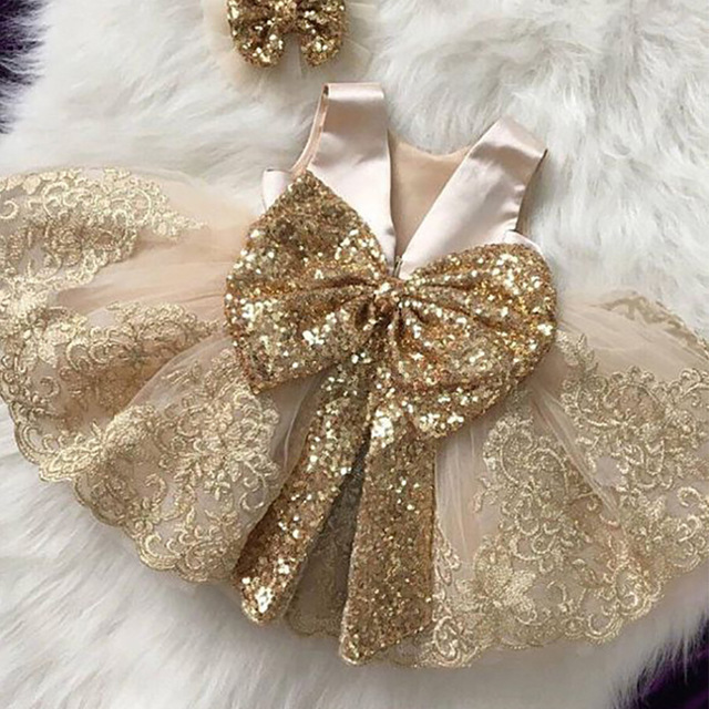 Golden Sequin Baby Christening Gowns Tulle Princess Dress Event Party Wear 1 Year Baby Girl Birthday Dresses Infant Baptism Gown