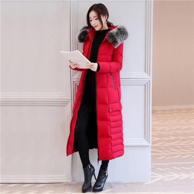 Real Fox Fur Hooded Down Coat Female Winter Brand X-Long Jacket Women Clothes 2019 Korean 90% Duck Down Parka Hiver 18190