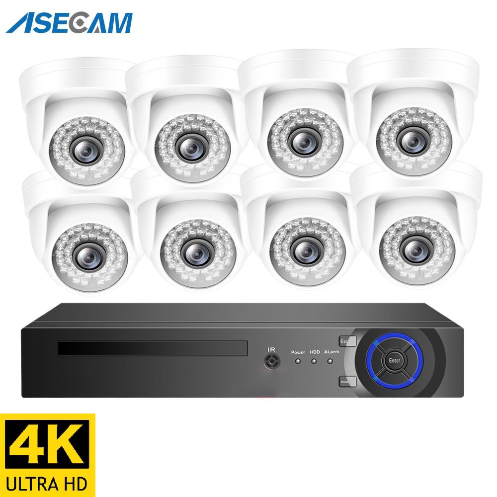 4K 8MP H.265 POE NVR комплект звук в системе Скрытого видеонаблюдения Система безопасности Крытый Белый купол микрофон IP камера Аудио запись видео ...
