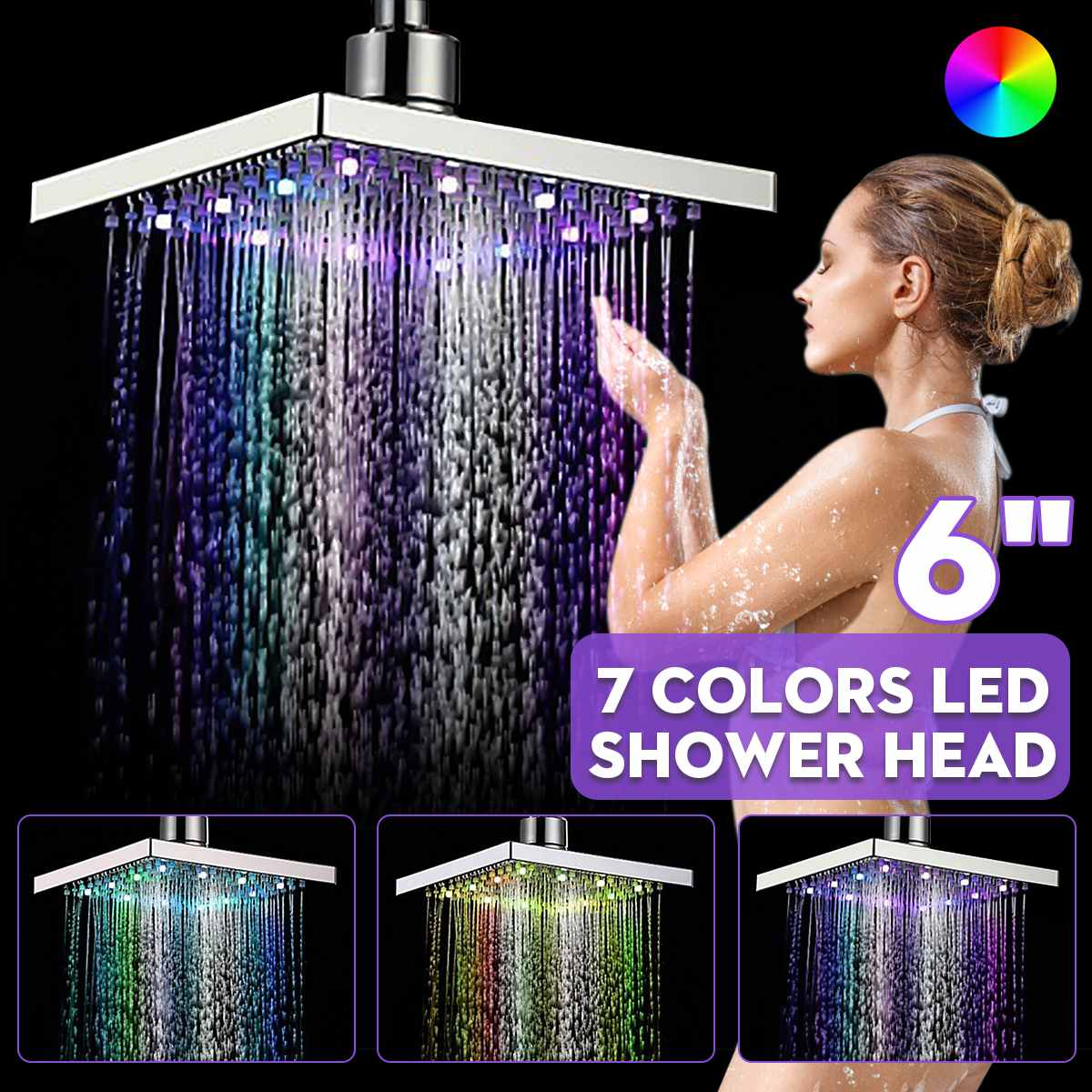 Xueqin 6 Inch ABS Square Rainfall LED Changing Shower Head Adjudtable Water Flow Spray Temperature Sensor Chrome Finish