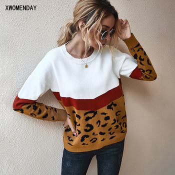 Leopard Patchwork Sweater Autumn Winter Clothes Woman Long Sleeve Knitted Jumper Pullover Sweaters Tops For Women 2020 Fall bow knitted pullovers autumn winter women sweater jumper pullover sleeve long 2020 high elasticity fall sweater women pullover