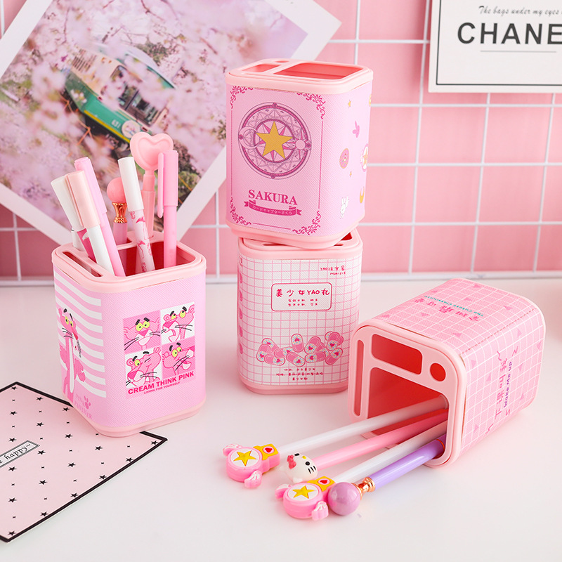 Japanese-style GIRL'S Pink Pen Container Students Desktop Storage Organizing Office Supplies Stationery Storage Students Supplie