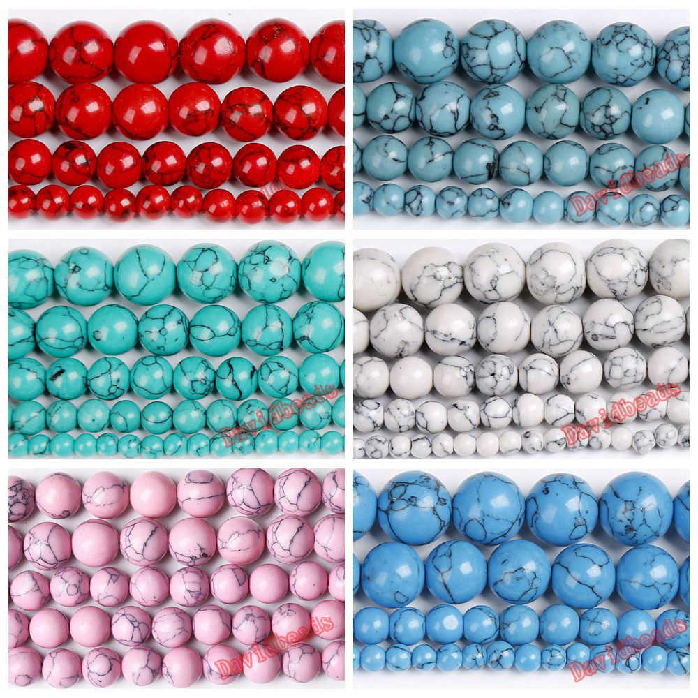 """Pietra naturale bianco blu nero rosso turchesi perle tonde lisce allentate 15 """"filo 4 6 8 10 12 MM scegli la dimensione per la creazione di gioielli"""