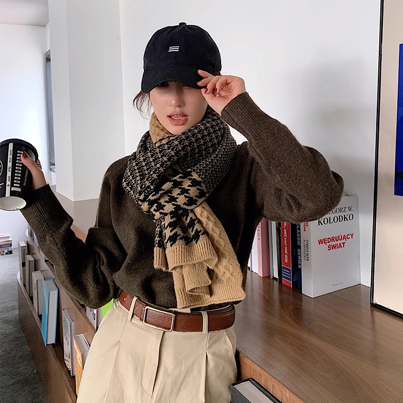 Korean Version Autumn And Winter Knitted Wool Warm Scarf Women Winter Korean Thickened Long Student Bib Shawl