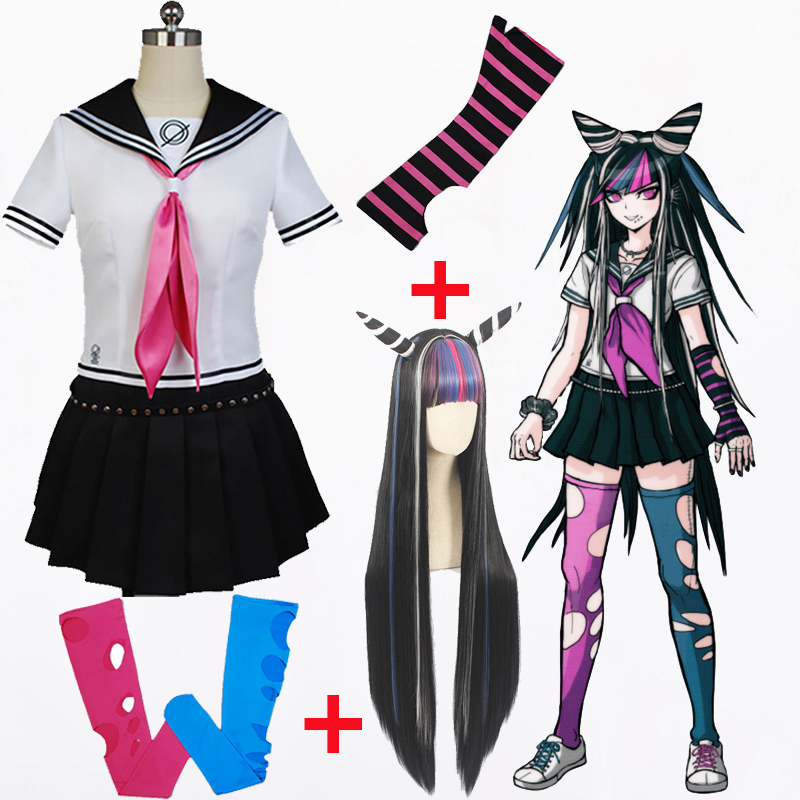 Anime Danganronpa Cosplay Ibuki Mioda Cosplay Customs Wig School Girls Uniform Dangan Ronpa Halloween Customs For Women CS216