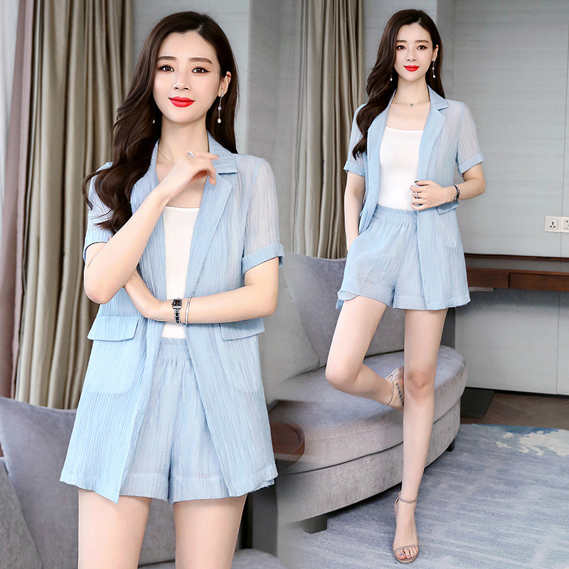 Playful Two-Piece 2019 New Style Korean-style Very Fairy Network Hong Yang Gas Small Suit Shorts WOMEN'S Suit Summer With Camiso