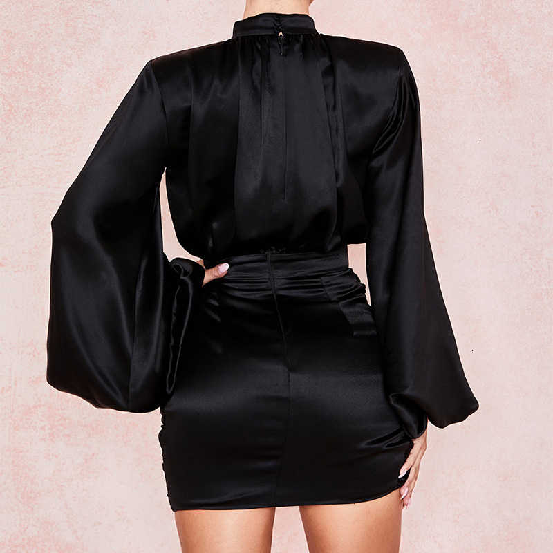 Justchicc מיני קפלים תחבושת שמלת נשים לעטוף שמלה סקסית עמוק V צוואר רוכסן סתיו פנס שרוול Bodycon מועדון מפלגה שמלה
