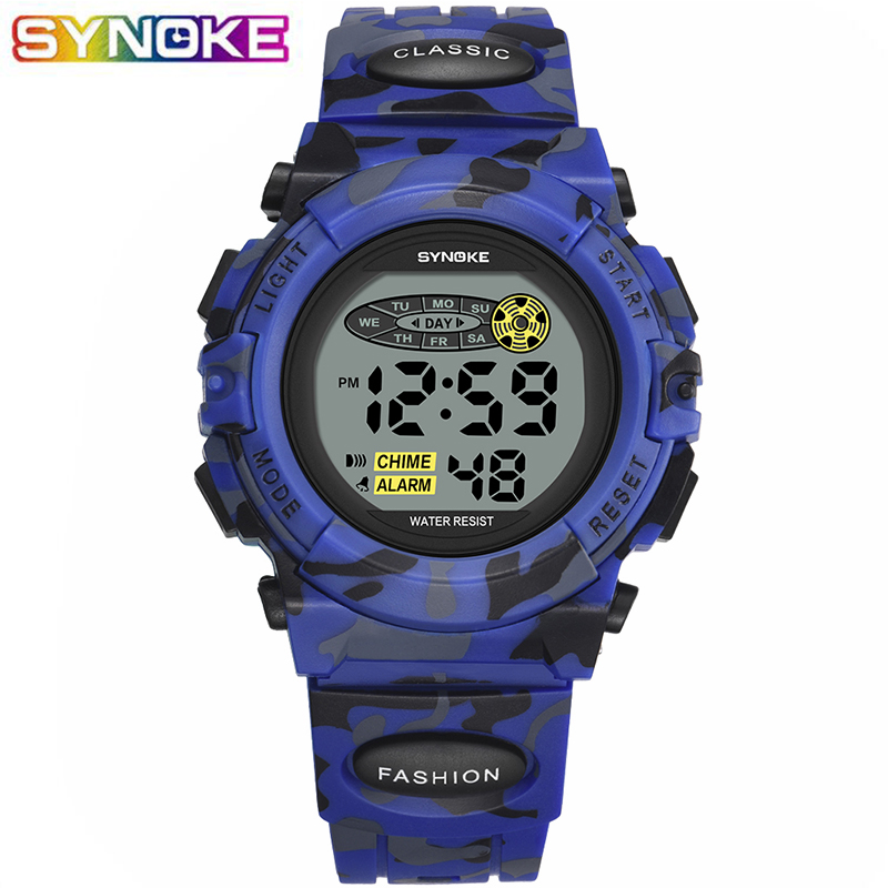 SYNOKE Military Sports Kids Digital WristWatches Camouflage Blue Student Children Boys Watch Luminous Led Colorful Alarm Clock