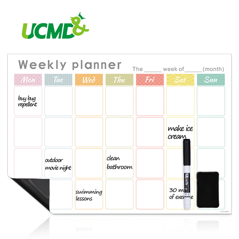 Refrigerator Magnetic Calendar Weekly Monthly Planner Erasable Time Schedule Agenda Fridge Sticker Message Organizer Whiteboard