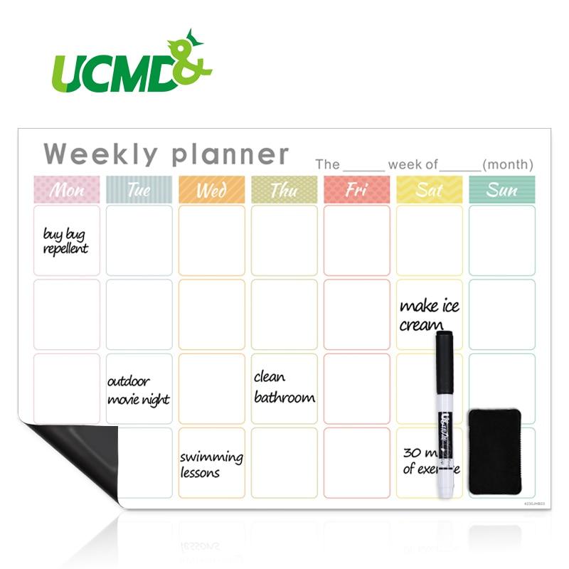 Refrigerator Magnetic Calendar Weekly Monthly Planner Erasable Time Schedule Agenda Fridge Sticker Message Organizer Whiteboard