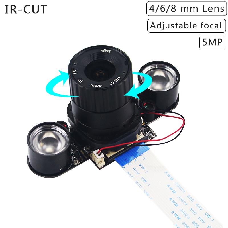 Raspberry Pi 4 Model 5MP Camera IR-CUT 5MP 4 6 8 Mm Focal Adjustable Length Night Vision Cameras For Raspberry Pi 3 Model B+/4B