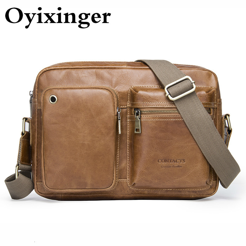 Fashion Genuine Leather Men's Shoulder Bag Men Messenger Bag Crossbody Bags For Man Luxury Designer Handbag Bandolera Hombre