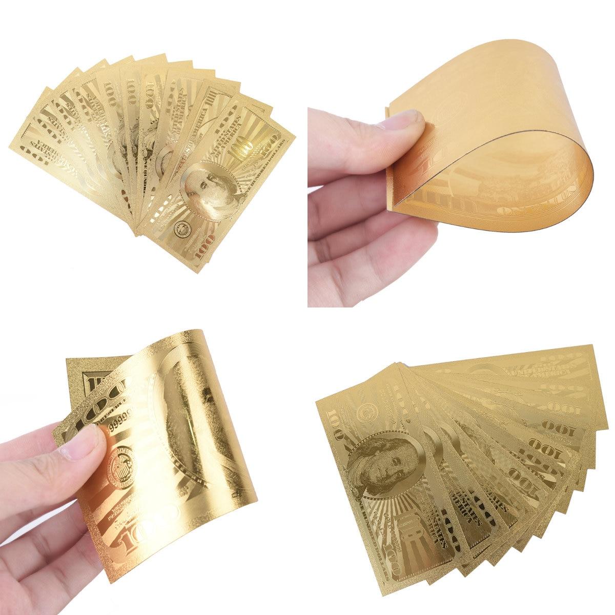 10 unids/lote de oro conmemorativa, billetes de 100 dólares estadounidenses, billete de dinero falso, medalla de moneda de papel 24k Estados Unidos de América