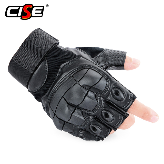 PU Leather Motorcycle Half Finger Glove Motorbike Motocross Moto Hard Knuckle Fingerless Riding Biker Protective Gear 1