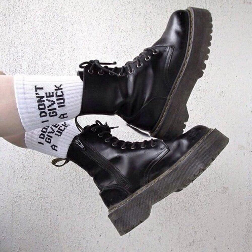 Funny Letter Korea Halajuku Hip-hop Street Skate Socks Hosiery Women High Quality Black White Casual Cotton Short Socks Winter