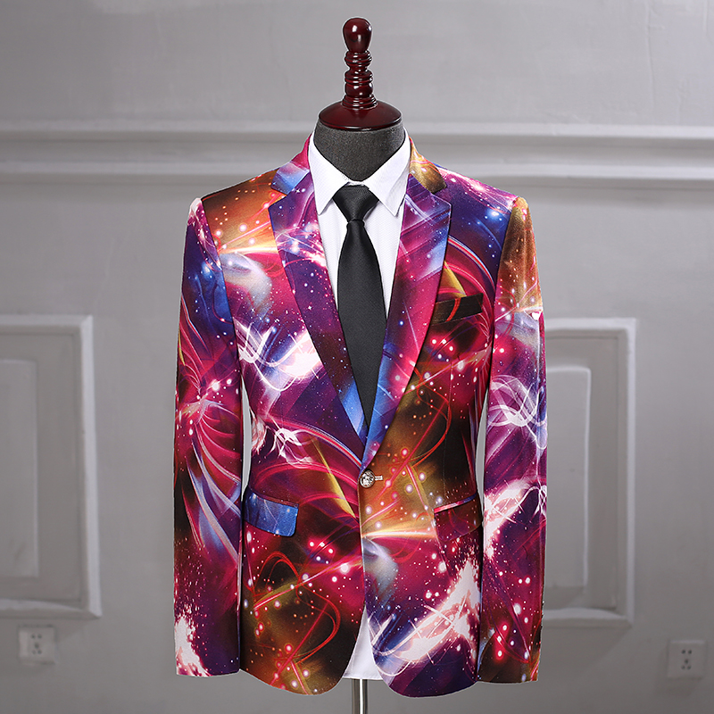 New Space Pattern Print Fashion Casual Blazer Stage Signers Veste Homme Costume Slim Fit Suit Jacket African Men Coat