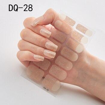 14pcs/sheet Glitter Gradient Color Nail Stickers Nail Wraps Full Cover Nail Polish Sticker DIY Self-Adhesive Nail Art Decoration 99