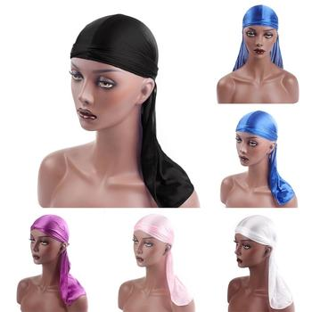 Solid Color Unisex Silky Bandanna Turban Hat Biker Headwear Innocent cap Pirate Cap image