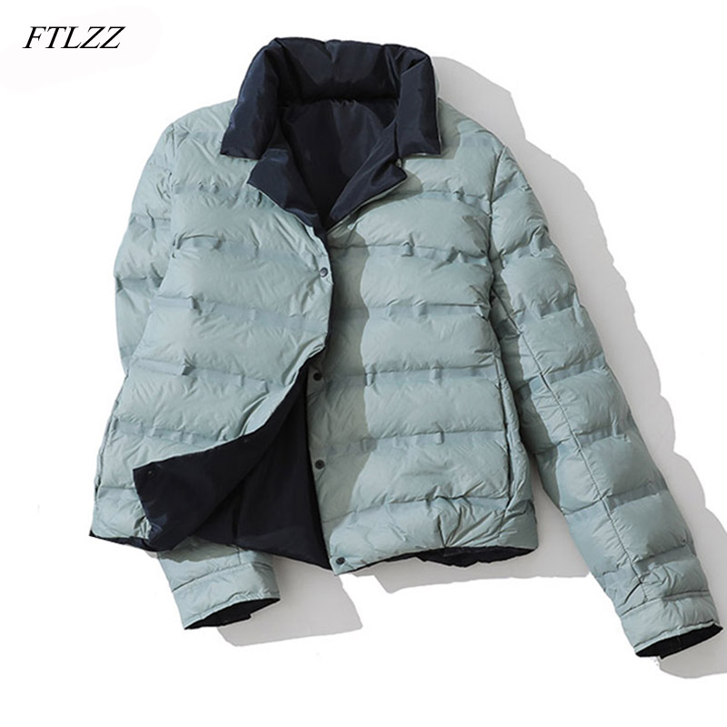 FTLZZ Winter Women Double Sided Down Jacket Stand Collar White Duck Down Coat Double Breasted Warm Short Snow Outwear