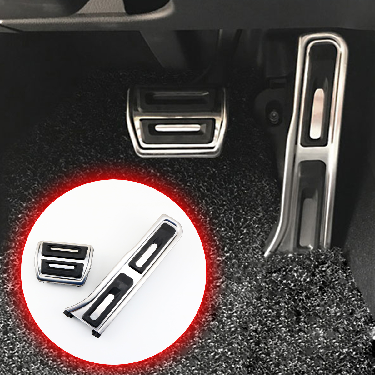 Stainless Steel Non-slip AT Pad Fit For <font><b>Audi</b></font> <font><b>Q3</b></font> 2012-2018 Accessories Brake Gas Fuel Oil Foot <font><b>Pedal</b></font> Cover Trim Antiskid Style image