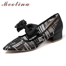 Meotina High Heels Women Pumps Mixed Colors Square Heels Mary Janes Shoes Mesh Bow Pointed Toe Party Shoes Lady Plus Size 33-43 mixed color polka dot mesh upper girl nude shoes square toe black suede buckle mary janes shoes middle chunky heel shoes women