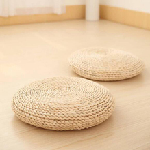 Natural Straw Round Pouf Tatami Cushion Straw futon corn bay window pad yoga steaming cushion hand-woven mat for Home Decoration 45cm round shape cotton linen cushion pad yoga mat tatami floor window chair seat mat