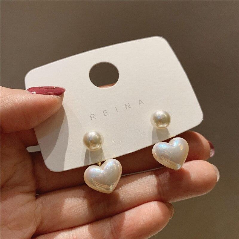 New fashion contracted Heart Pearl fine earrings joker sweet elegant temperament Women Drop earrings